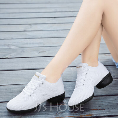 Women's Fabric Sneakers Latin Modern Jazz Sneakers With Lace-up Dance Shoes