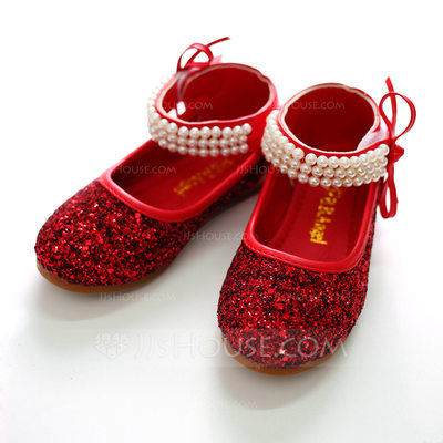 Girl's Closed Toe Fabric Flat Heel Flats Flower Girl Shoes With Sequin Velcro