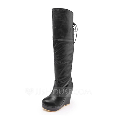 Leatherette Wedge Heel Knee High Boots shoes