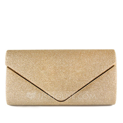 Delicate Polyester With Glitter Clutches
