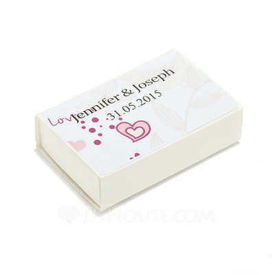 Personalized Heart design Hard Card Paper Matchboxes (Set of 12)