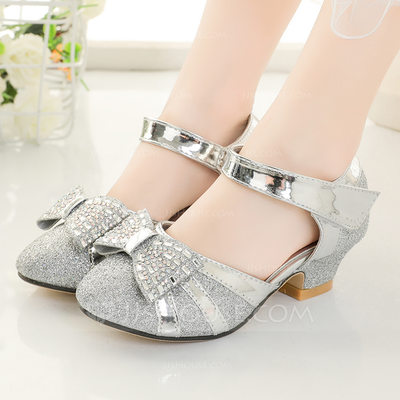 Girl's Closed Toe Sparkling Glitter Flower Girl Shoes With Bowknot Velcro