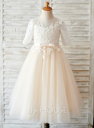 A-Line/Princess Tea-length Flower Girl Dress - Tulle/Lace 3/4 Sleeves Scoop Neck With Bow(s)