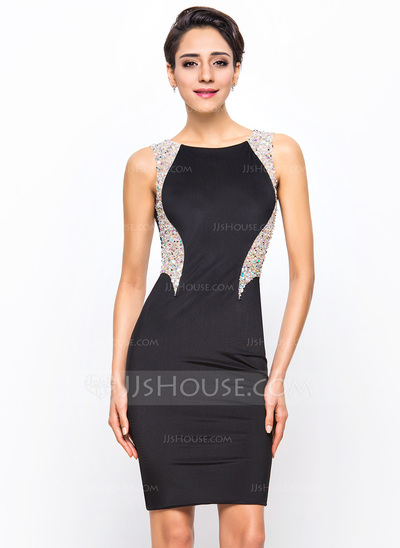Sheath/Column Scoop Neck Knee-Length Jersey Cocktail Dress With Beading Sequins