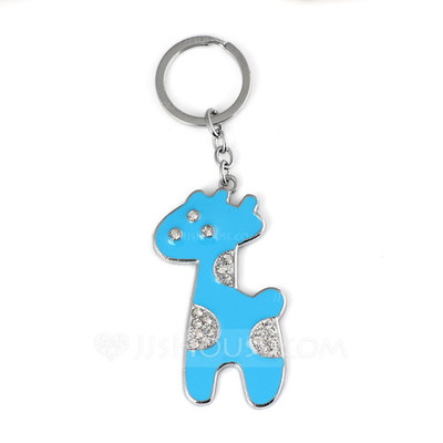 Cute Giraffe Design Chrome Keychains