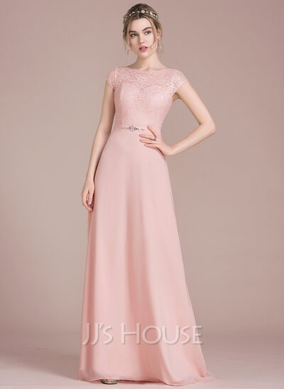 A line princess scoop neck floor length chiffon lace for Cocktail length wedding dresses
