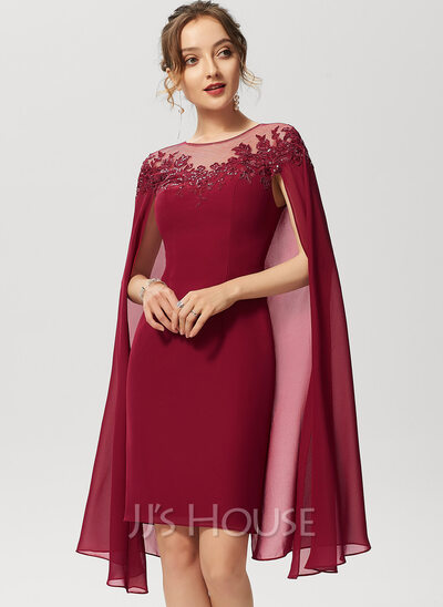 Sheath/Column Scoop Neck Knee-Length Chiffon Cocktail Dress With Lace Sequins