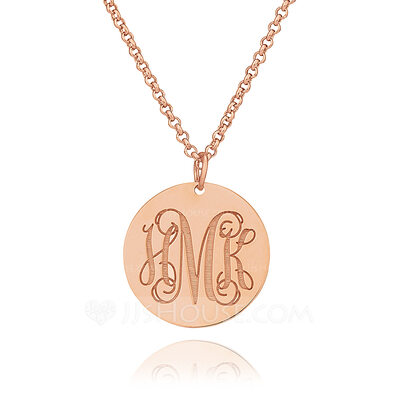 Christmas Gifts For Her - Custom 18k Rose Gold Plated Silver Monogram Circle Coin Three Engraved Necklace Circle Necklace