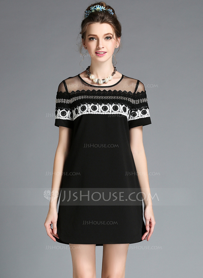 Polyester With Lace/Embroidery Mini Dress