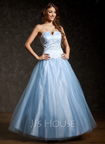 Ball-Gown Sweetheart Floor-Length Satin Tulle Quinceanera Dress With Beading Sequins
