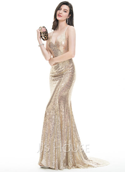 Trumpet/Mermaid V-neck Sweep Train Sequined Prom Dresses With ...