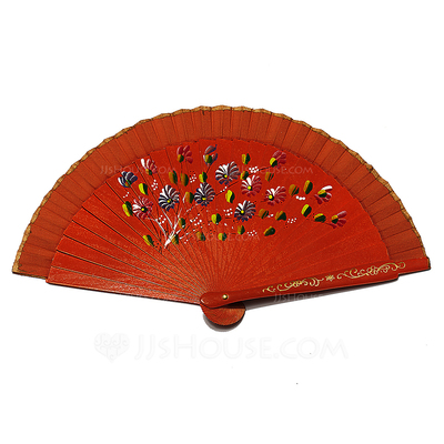 Floral Design Wooden Hand fan (Set of 4)