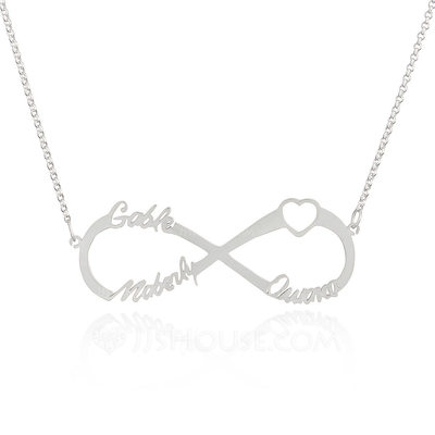 Custom Sterling Silver Infinity Three Name Necklace Infinity Name Necklace With Heart - Christmas Gifts
