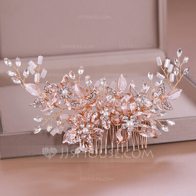 Ladies Exquisite Alloy Combs & Barrettes With Rhinestone/Venetian Pearl