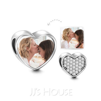 Custom Heart Photo Charms With Pave Cubic Zirconia - Valentines Gifts