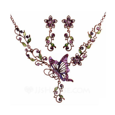 Butterfly Shaped Alloy/Czech Stones/Coloured Glaze Ladies' Jewelry Sets