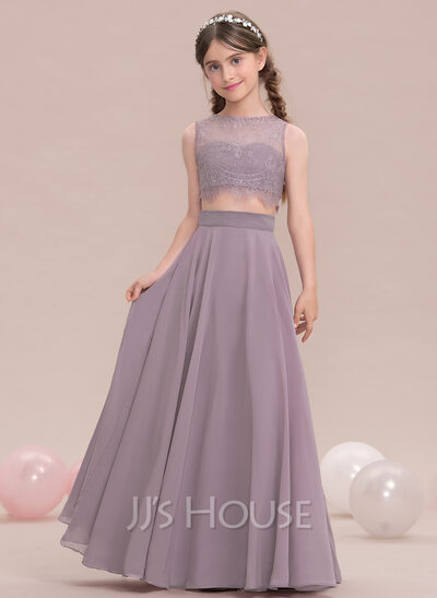 alineprincess scoop neck floorlength chiffon junior