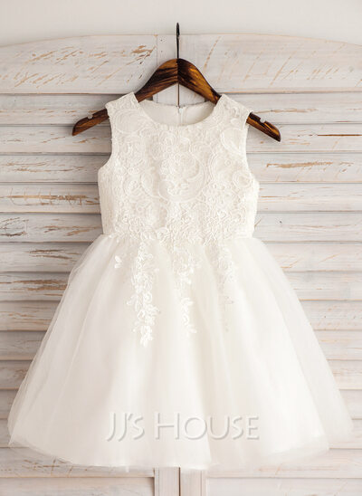 Knee Length Flower Girl White Dress