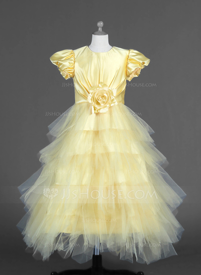 A-Line/Princess Ankle-length Flower Girl Dress - Tulle/Charmeuse Short Sleeves Scoop Neck With Ruffles/Flower(s)