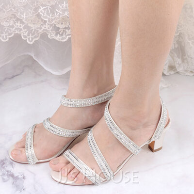 Women's Satin Sandals With Pearl Chain
