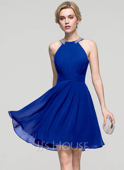 A-Line Scoop Neck Knee-Length Chiffon Prom Dresses With Ruffle Beading