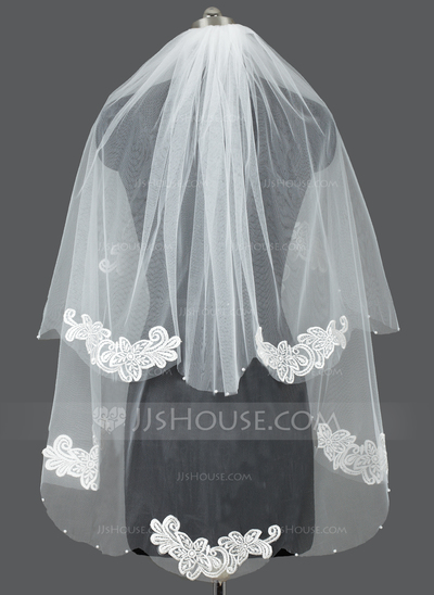 Two-tier Cut Edge Fingertip Bridal Veils With Applique/Faux Pearl