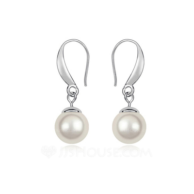 Charming Platinum Plated With Pearl Ladies' Earrings