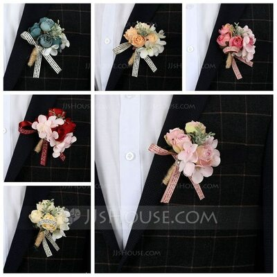Classic Free-Form Silk Flower Boutonniere - Boutonniere