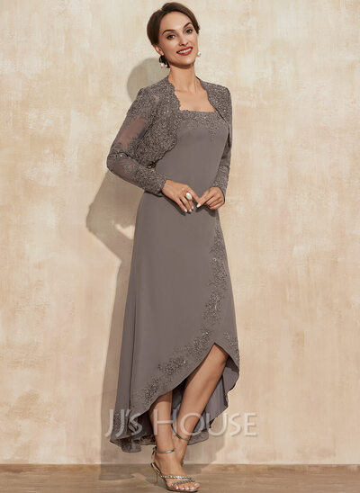 A-Line Square Neckline Asymmetrical Chiffon Cocktail Dress With Appliques Lace Sequins