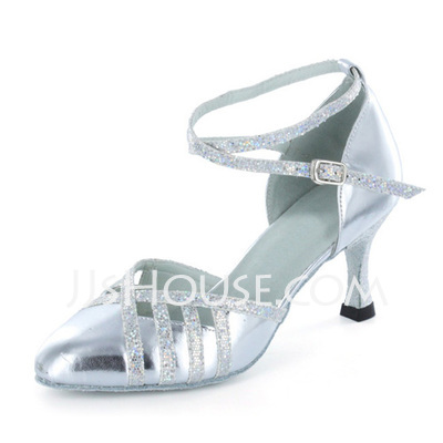 Women's Leatherette Sparkling Glitter Heels Pumps Ballroom With Ankle Strap Dance Shoes