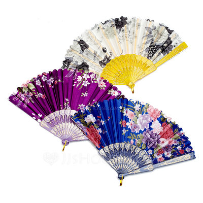 Floral Design Plastic/Silk Hand fan (Set of 4)