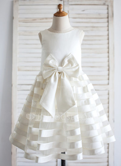 A-Line/Princess Tea-length Flower Girl Dress - Satin Sleeveless Scoop Neck