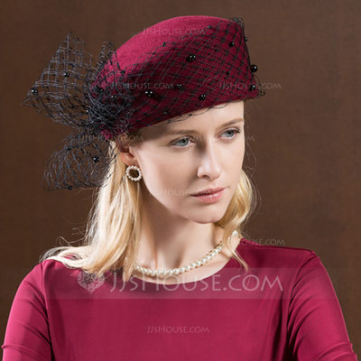 Ladies' Gorgeous/Fashion/Glamourous Wool With Tulle Beret Hats/Tea Party Hats