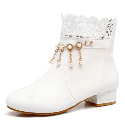 Women's Leatherette Flat Heel Boots Closed Toe Flats With Imitation Pearl Stitching Lace