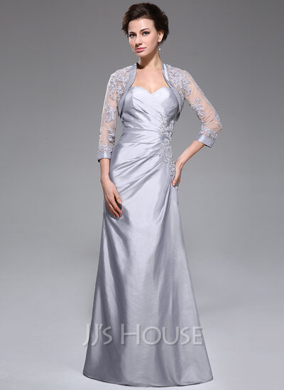 A-Line/Princess Sweetheart Floor-Length Taffeta Mother of the Bride Dress With Ruffle Beading Appliques Lace Sequins
