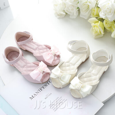 Girl's Peep Toe Leatherette Low Heel Flower Girl Shoes With Beading Bowknot