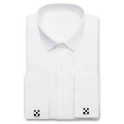 Solid Fly Front Textured Dress Shirts