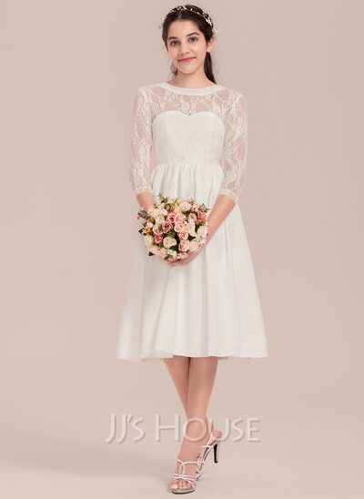 A-Line/Princess Knee-length Flower Girl Dress - Satin/Lace 3/4 Sleeves Scoop Neck