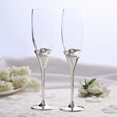 Rings Design Lead-free Glass/Aluminum Toasting Flutes (Set Of 2)