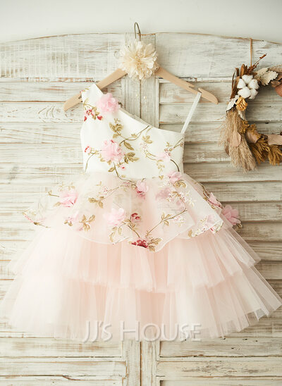 A-Line/Princess Knee-length Flower Girl Dress - Tulle Sleeveless One-Shoulder With Flower(s)