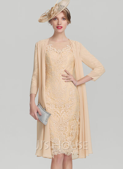 ca77a709bd4 Sheath Column Scoop Neck Knee-Length Lace Mother of the Bride Dress With  Beading
