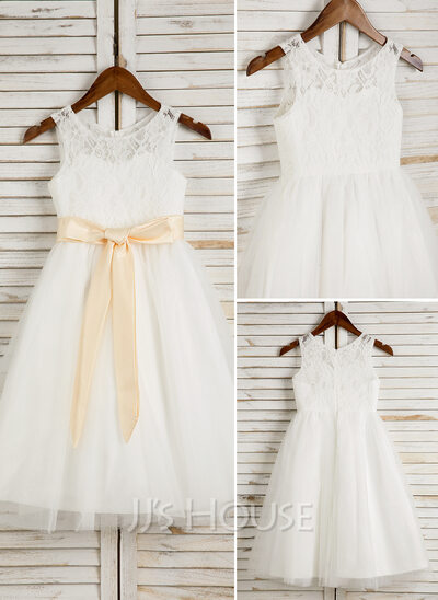 A-Line/Princess Tea-length Flower Girl Dress - Tulle/Lace Sleeveless Scoop Neck With Sash/Bow(s)