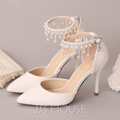 Women's Leatherette Stiletto Heel Closed Toe Pumps With Imitation Pearl Rhinestone