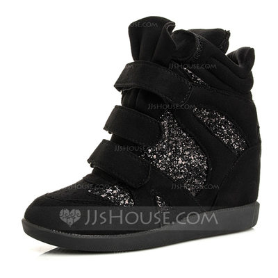 Women's Suede Wedge Heel Wedges Boots Ankle Boots With Velcro shoes
