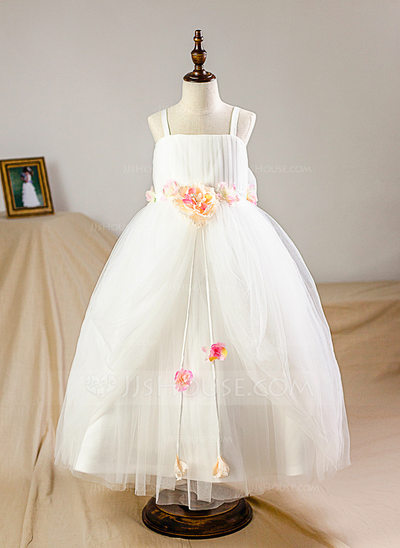 Ball Gown Floor-length Flower Girl Dress - Tulle Straps With Flower(s)/Bow(s) (Petticoat NOT included)