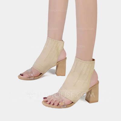 Women's Fabric Chunky Heel Sandals Pumps Peep Toe shoes