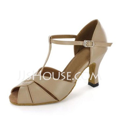 Women's Patent Leather Heels Sandals Latin With T-Strap Buckle Dance Shoes