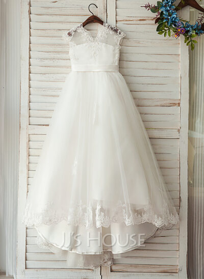 A-Line/Princess V-neck Floor-Length Tulle Junior Bridesmaid Dress With Sash