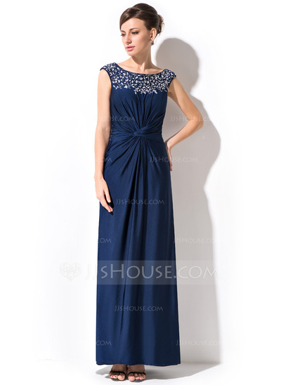 Sheath/Column Scoop Neck Ankle-Length Jersey Mother of the Bride Dress With Ruffle Beading