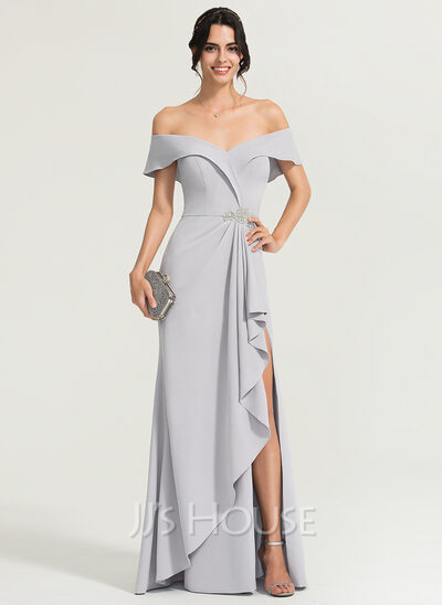 Sheath/Column Off-the-Shoulder Floor-Length Stretch Crepe Evening Dress With Beading Split Front Cascading Ruffles